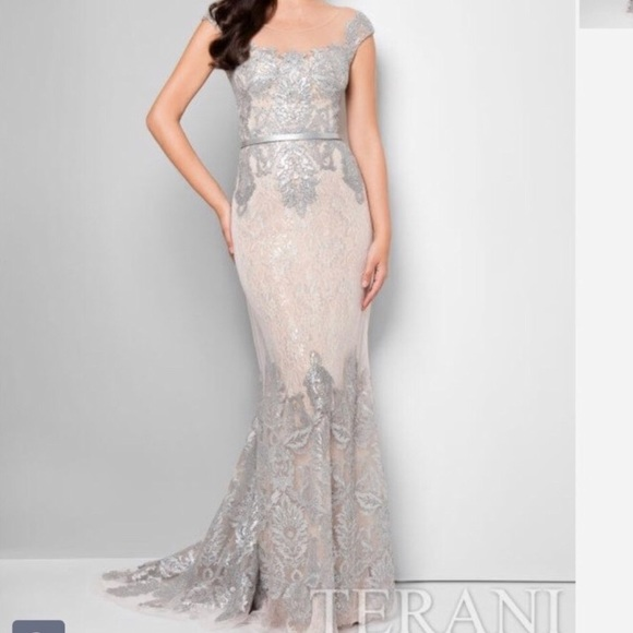 Terani Couture Lace Gown Dress Nwt
